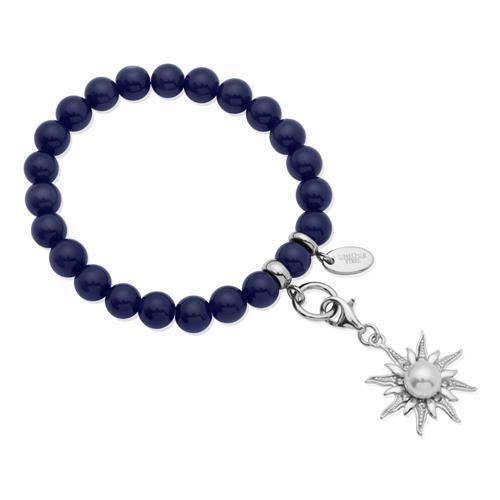 Charm Armband mit Perlen dehnbar 15,5 bis 19,5cm