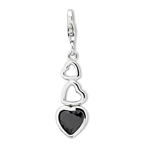 Exklusiver 925 Silber Herz Charm zum Einhängen