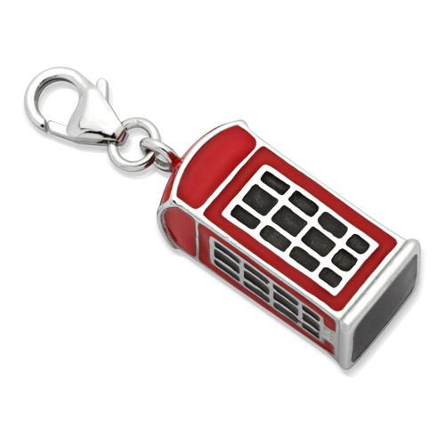 Silber Charm Telefonzelle für Bettelarmbänder