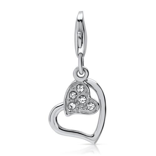 925er Silber Herz-Charm mit weißem Steinbesatz