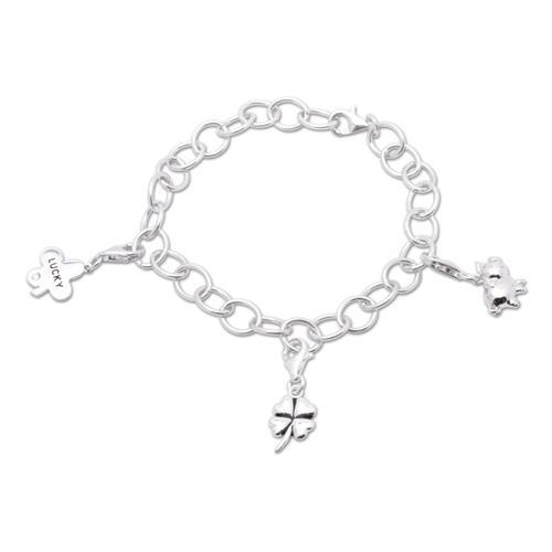 925 Silber Charm Armband Glück