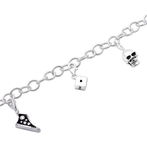 925 Silber Charm Armband Rock