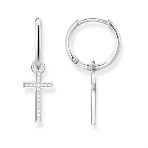 Creolen Kreuz aus 925er Silber Zirkonia