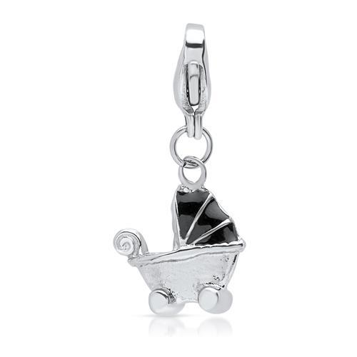 Charmanhänger aus Edelstahl Kinderwagen