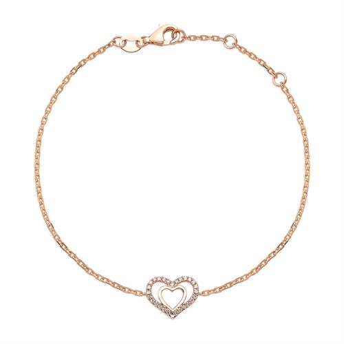 Armbaender für Frauen - 750er Roségold Armband Herz 28 Diamanten  - Onlineshop The Jeweller