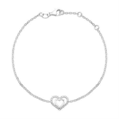 750er Weißgold-Armband Herz 28 Diamanten