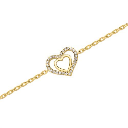 750er Gelbgold-Herz-Armband 28 Diamanten