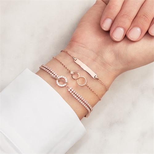 750er Roségold Armband Kreise Diamanten
