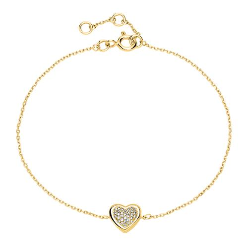 Armbaender für Frauen - Armband Herz aus 585er Gold mit Diamanten  - Onlineshop The Jeweller