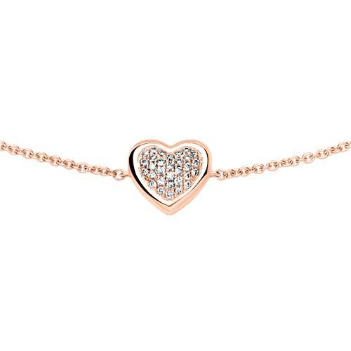585er Roségold Armband mit diamantbesetztem Herz