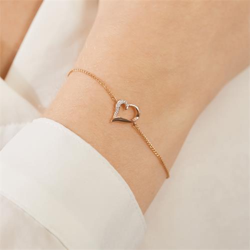 Armband Herz aus 14K Roségold mit Diamanten