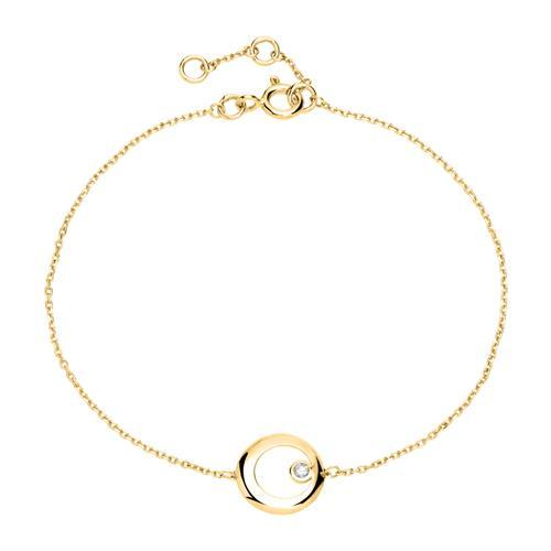 Armbaender für Frauen - 585er Goldarmband Kreis mit Diamant  - Onlineshop The Jeweller