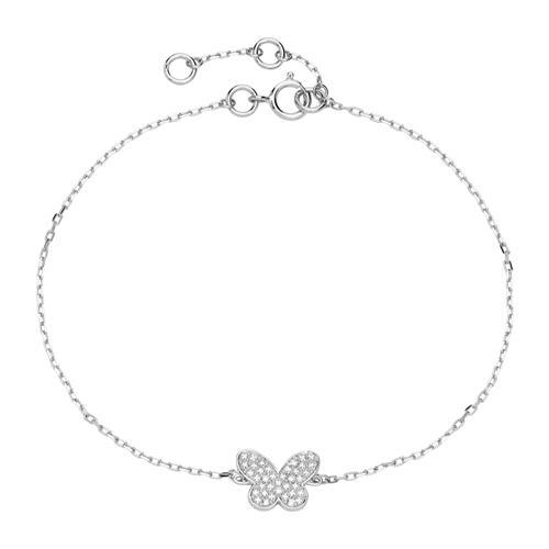 Armbaender für Frauen - Armband Schmetterling aus 14K Weißgold mit Diamanten  - Onlineshop The Jeweller