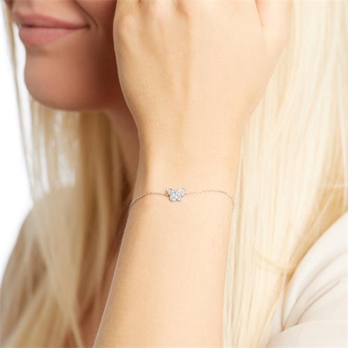 Armband Schmetterling aus 14K Weißgold mit Diamanten