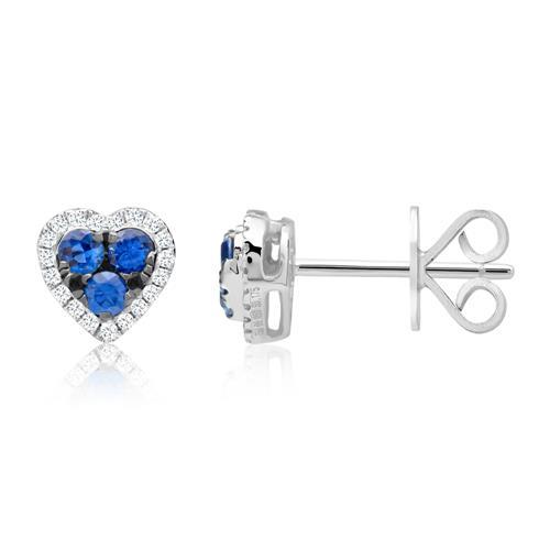 Diamantohrschmuck Herzen Saphire 0,45 ct gesamt