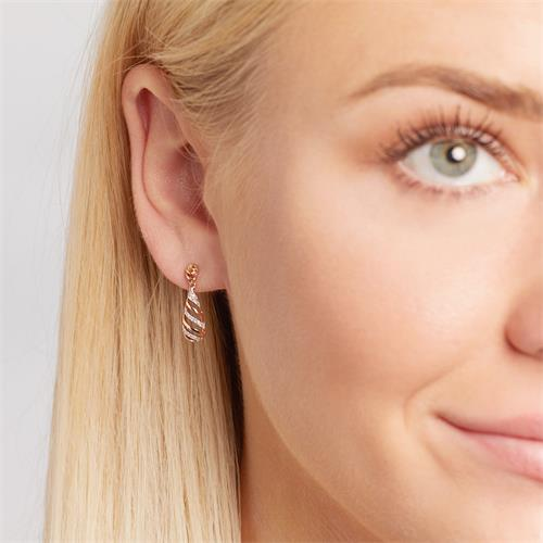 Diamond Earrings Rose Gold 54 Diamonds 0,114 Hoops.