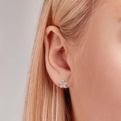 Ohrringe 750er Weißgold 22 Diamanten 0,12 ct.