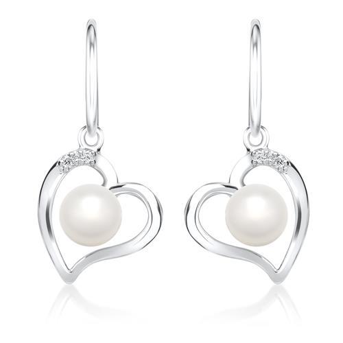 Weißgold-Ohrringe Perle 4 Diamanten 0,032 ct.