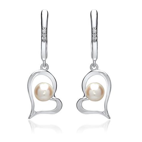 585er Weißgold-Ohrringe Herz 4 Diamanten