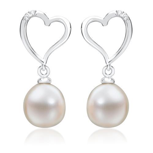 wei gold ohrringe mit perlen und 4 diamanten 0 032 ct. Black Bedroom Furniture Sets. Home Design Ideas