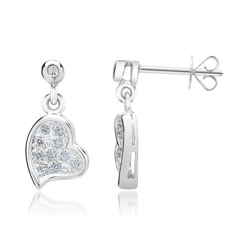 585er Weißgold-Ohrringe Herz 22 Diamanten