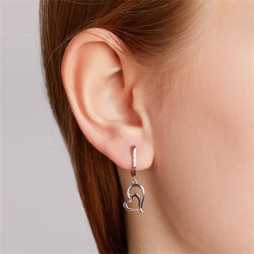 585er Weißgold-Ohrringe Herz 6 Diamanten