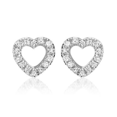 Herz Ohrstecker aus 585er Weißgold mit Diamanten