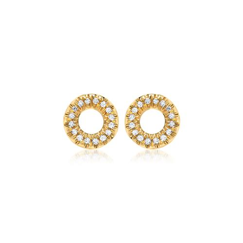 585er Gelbgold-Ohrstecker 32 Diamanten 0,11ct.