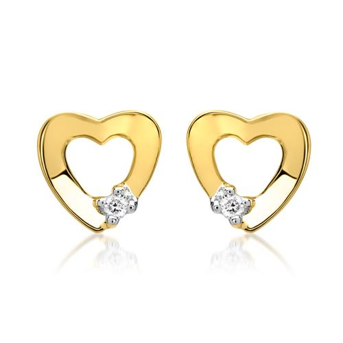 Herz-Ohrstecker 585er Gelbgold 2 Diamanten