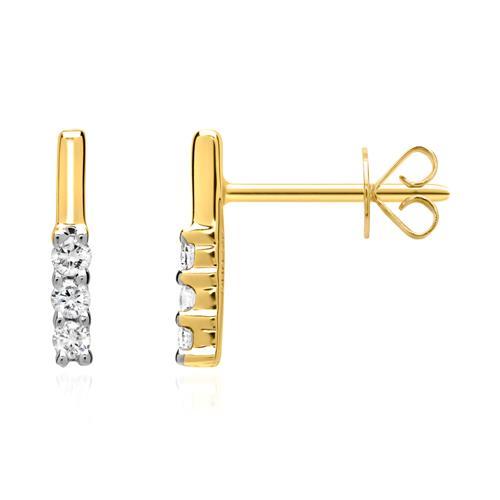 585er Gelbgold-Ohrstecker 6 Diamanten 0,1 ct.