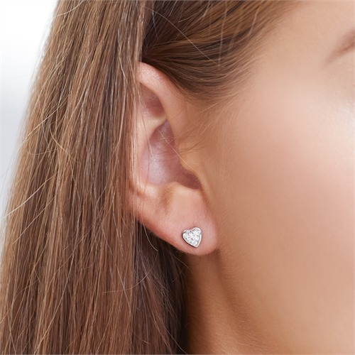 585er Weißgold-Ohrstecker Herz 12 Diamanten