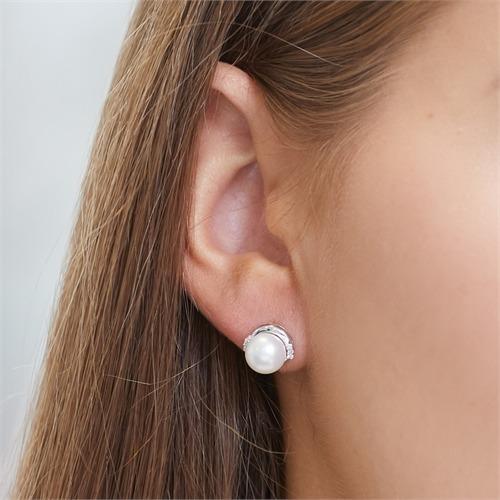 585er Weißgold-Ohrringe Perle 8 Diamanten