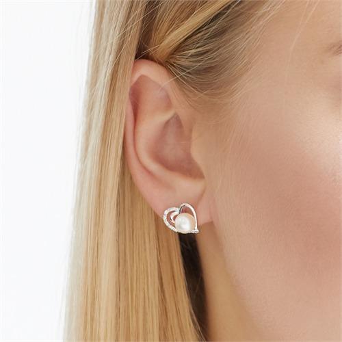 585er Weißgold-Ohrringe Herz 16 Diamanten