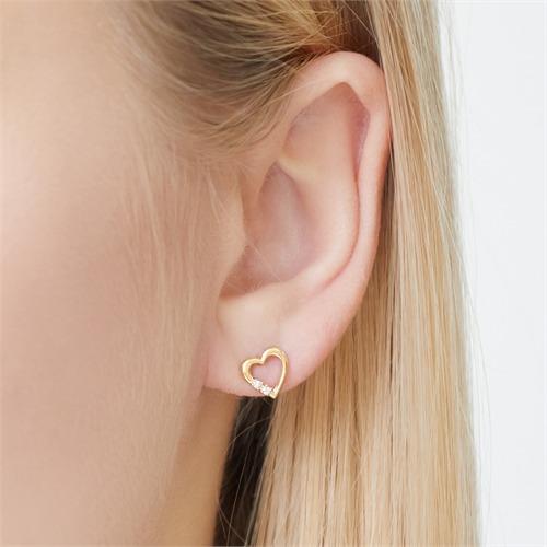 Ohrringe 585er Gelbgold 4 Diamanten 0,04 ct.