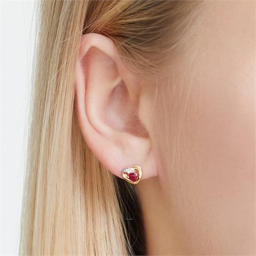 Ohrringe 585er Gelbgold Herz 2 Rubinen 0,4 ct.