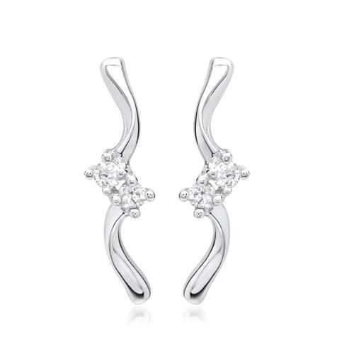 Ohrringe 585er Weißgold 4 Diamanten 0,08 ct.
