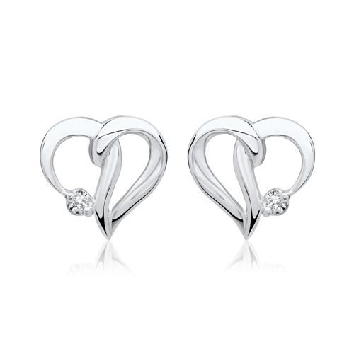 Ohrringe 585er Weißgold 2 Diamanten 0,0146 ct.