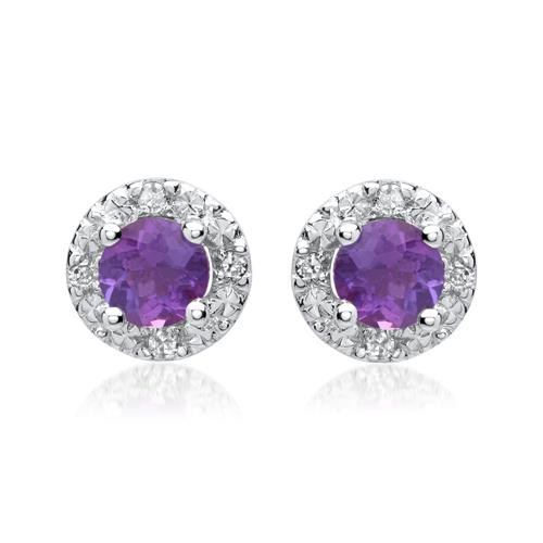 585er Ohrringe Amethysten 0,5 ct. 8 Diamanten 0,0512 ct.