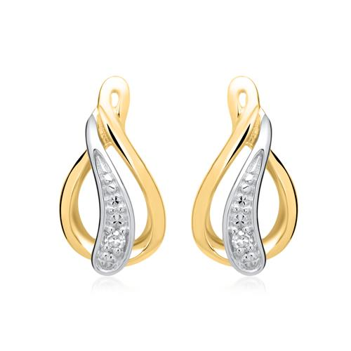 Ohrringe 585er Gelbgold 2 Diamanten 0,0112 ct.