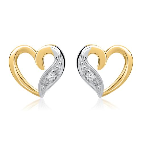585er Gelbgold-Ohrringe Herz 2 Diamanten 0,02ct.