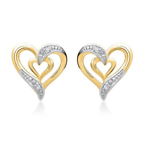 585er Gelbgold-Ohrringe Herz 4 Diamanten