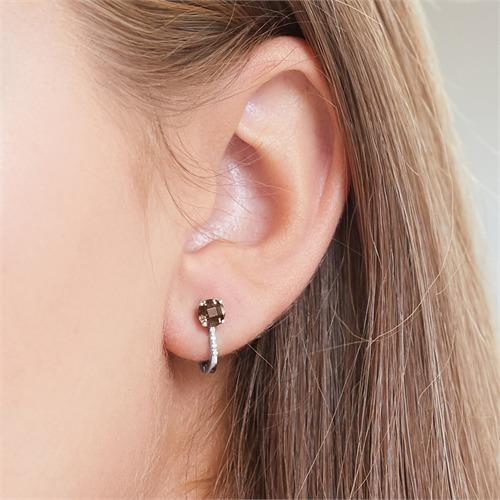 585er Weißgold Ohrringe 8 Diamanten Rauchquarz