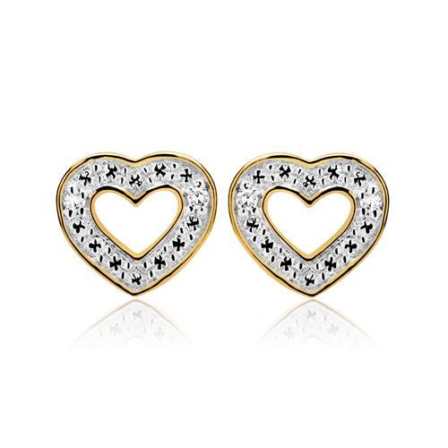 Herz Ohrstecker 585er Gelbgold mit Diamanten