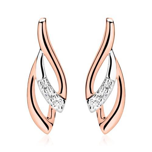Bicolore Ohrstecker 585er Roségold Diamanten