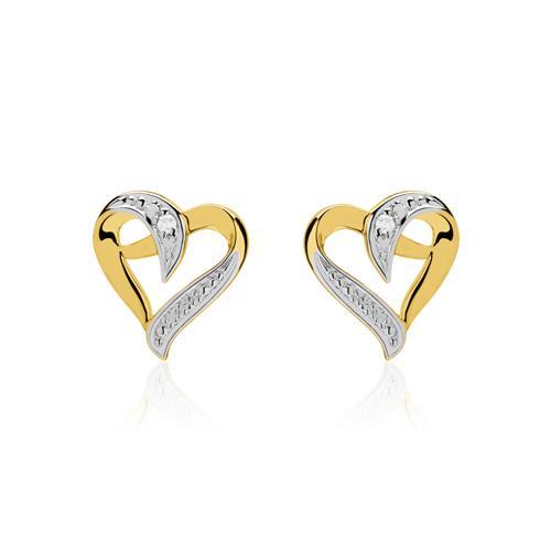 585er Goldohrstecker Herzen mit Diamanten