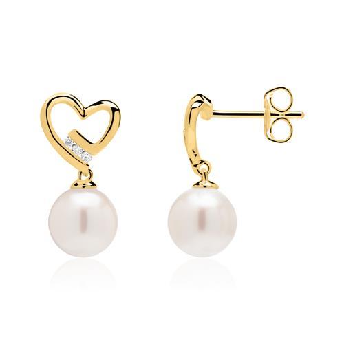 Perlen Ohrstecker aus 585er Gold mit Diamanten