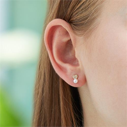 Herz Ohrstecker aus 14K Gold mit Perlen und Diamanten