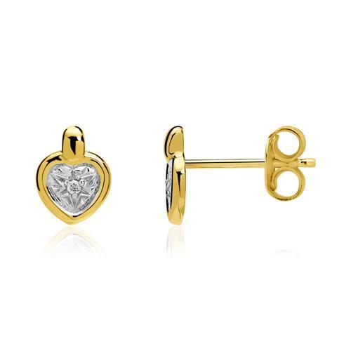 Herz Ohrstecker aus 585er Gold mit Diamanten