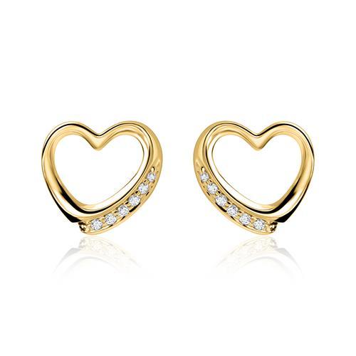 14k Gold Ohrstecker Herzen mit Diamanten