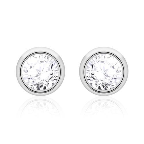 Ohrstecker für Damen aus 14K Weißgold mit Diamanten